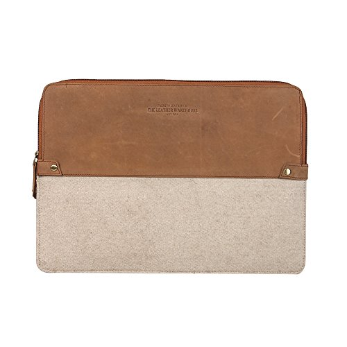 Zipper 13-13.3 inch Leather and Felt | Wool Laptop Sleeve | case | Cover with Space Inside to Keep Credit Cards Compatible with Apple MacBook Air | pro Handmade for Men Women - Beige and Tan ()