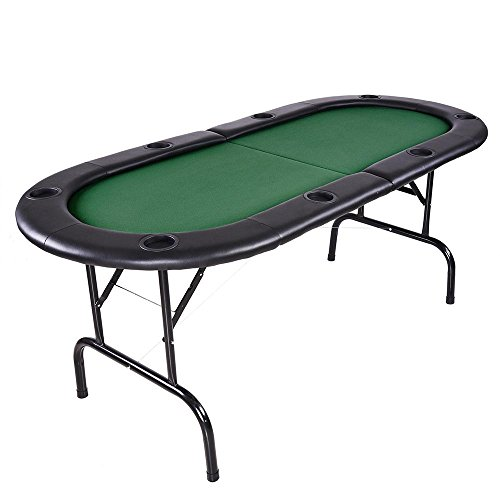 AW Foldable Poker Table w/ Leg 72x32x30'' 8 Player Texas Holdem Game Table Cup Holder Green by AW