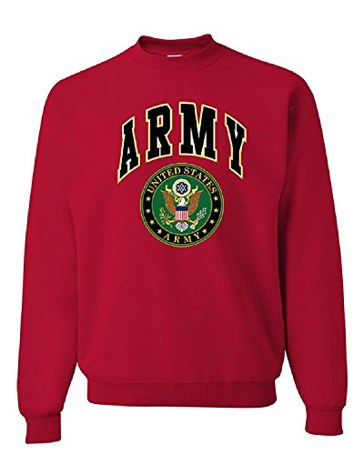 Mens Crew Red Logo Sweatshirt (US ARMY CREW NECK SWEATSHIRT ARMY LOGO CREST PATRIOTIC, Red, XL, Red, XL)
