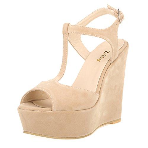 ZriEy Women Gorgeous Sexy Peep Toe High Heels Platform Wedge Sandals Velvet Nude size (High Heel Peep Toe Wedges)