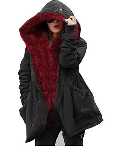 Roiii Thickened Dark Black Faux Fur Amry Green Camouflage Parka Women Hooded Long Winter Jacket Overcoat Plus Size S-3XL (3X-Large, Beige)