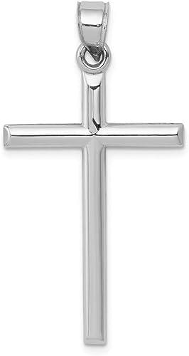 14K White Gold Hollow Cross Pendant