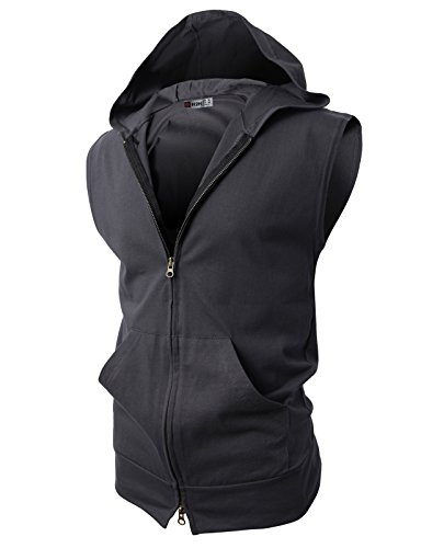 H2H Men's Active Reversible Sleeveless Mesh Zip up Hoodie Vest Shirts Charcoal Asia 4XL ()