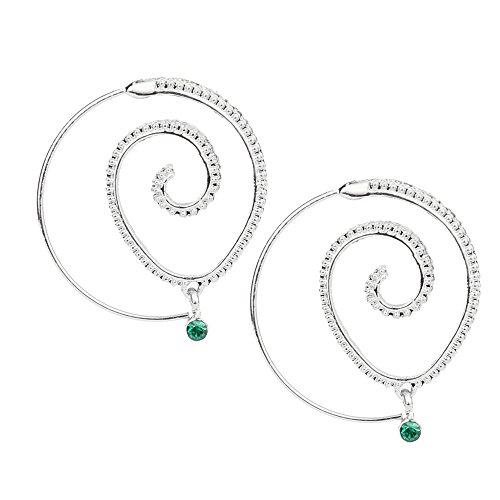 (Women's Spiral Hoop Earrings, Iuhan Retro Circles Round Spiral Tribal Hoop Earrings Ear Stud (Sliver))