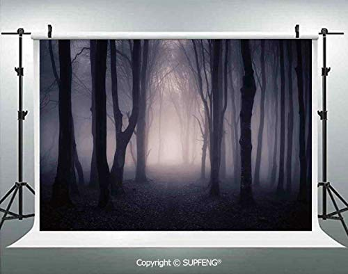 Photo Backdrop Path Through Dark Deep in Forest with Fog Halloween Creepy Twisted Branches Picture 3D Backdrops for Interior Decoration Photo Studio Props