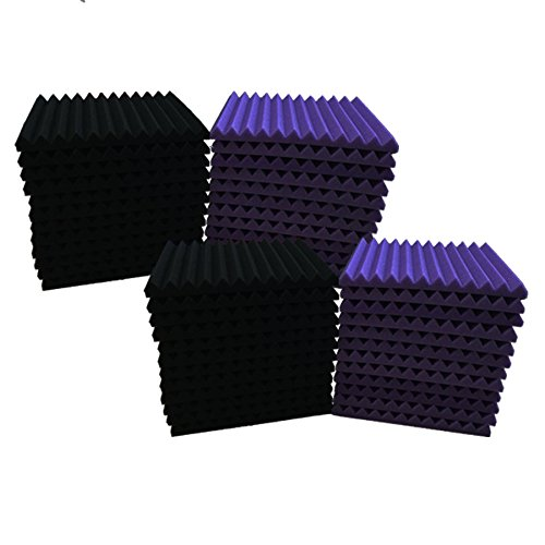 48 Pack BLACK purple Acoustic Foam Panel Wedge Studio Soundproofing Wall Tiles 12 X 12 X 1