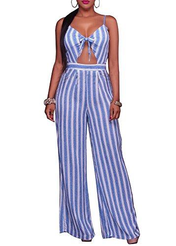 shekiss Womens Sexy Bodycon Stripe Sleeveless Jumpsuit Elastic Summer Strap Romper Wide Leg LightBlue Large