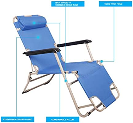 KARMAS PRODUCT Outdoor Reclining Lounge Chairs Adjustable Folding Patio Recliners with Pillow for Pool,Lawn,Beach Light Blue
