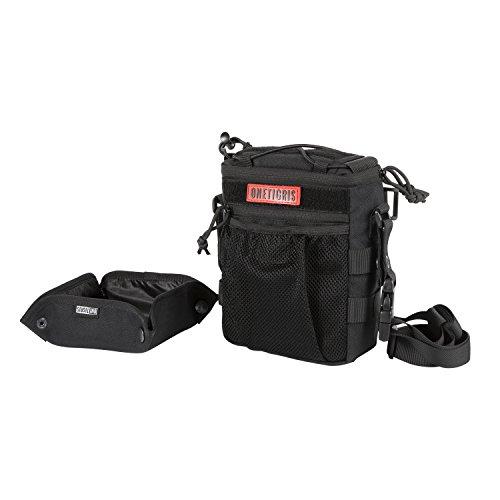 OneTigris Treat Tote Bag & Foldable Dog Bowl 2.5L MOLLE Pouch with Removable Shoulder/Waist Strap (Black) by OneTigris