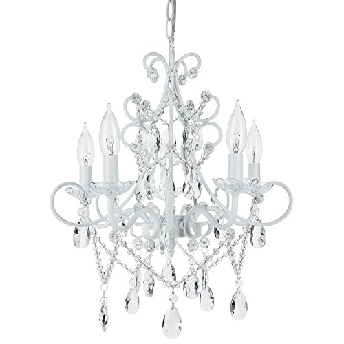 Theresa White Crystal Chandelier, 5 Light Swag Plug-In Glass Pendant Wrought Iron Ceiling Lighting Fixture Lamp ()
