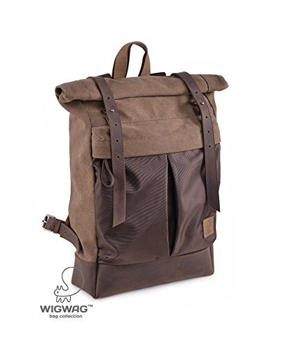 Roll Top backpack, canvas leather backpack, roll backpack, hipster backpack, laptop backpack, men's rucksack by TM Wigwag