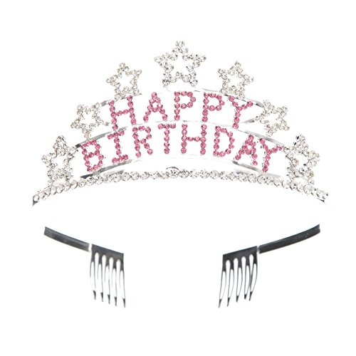 (SWEETV Crystal Birthday Tiara Rhinestone Princess Crown Happy Birthday Crowns,)