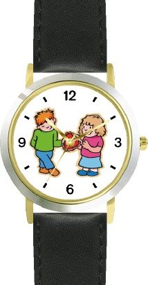 Boy and Girl with Valentine - WATCHBUDDY DELUXE TWO-TONE THEME WATCH - Arabic Numbers - Black Leather Strap-Women's Size-Small by WatchBuddy