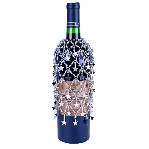 Silver Beaded Wine Bottle Cover with Silver Stars