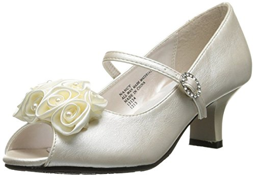 Swea Pea & Lilli Girl's Peep Toe Dress Shoe with Satin Flowers Ivory 12