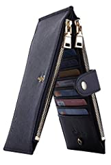 """MATERIAL: high quality genuine leather: soft and durable; SIZE: 7.5"""" X 4"""" X 1""""; packed in gift box; PRACTIAL DESIGN; 18 card slots;1 ID slot; 15 card slots, 2 zipped long slots for cash and mobile; RFID BLOCKING: the RFID signal of your credit/debit ..."""