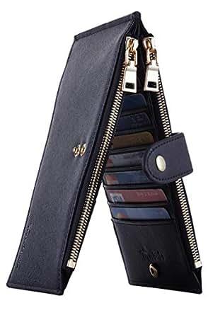 Travelambo Womens Walllet RFID Blocking Bifold Multi Card Case Wallet with Zipper Pocket (CH Black 4001)