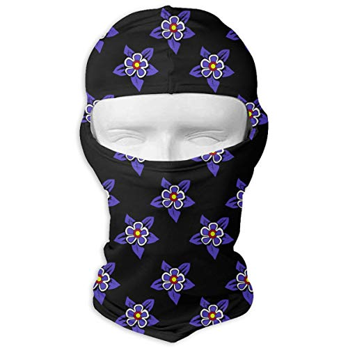 Leopoldson Colorado Flag Columbine Flower Balaclava UV Protection Windproof Ski Face Masks for Cycling Outdoor Sports Full Face Mask Breathable ()