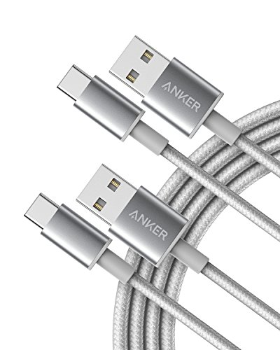 USB Type C Cable, Anker [2-Pack 6Ft] Premium Nylon USB-C to USB-A Fast Charging Type C Cable, for Samsung Galaxy S10 / S9 / S8 / Note 8, LG V20 / G5 / G6 and More(Silver)