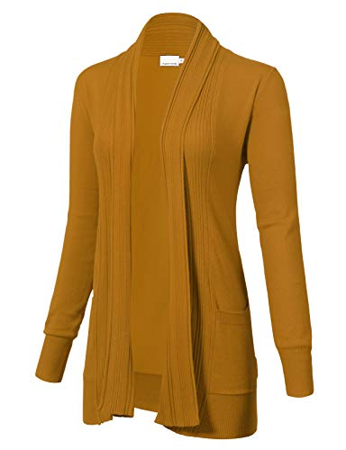 ARC Studio Women's Long Sleeve Open Front Draped Cardigans Pocket S Mustard