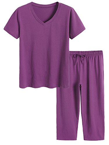 Latuza Women's Cotton Pajamas Set Tops and Capri Pants Sleepwear M Eggplant