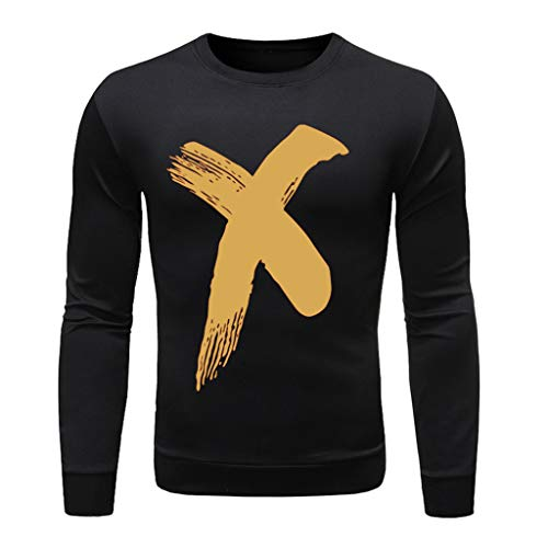 Answerl Mens T-Shirt, Casual Letter/Graphics Print Long Sleeve Blouse Fit Round Neck Modal Top Polo Shirt Pullover