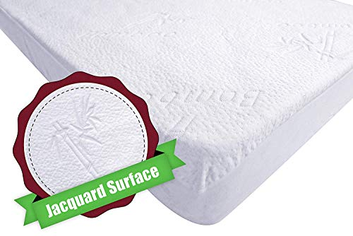 iLuvBamboo Crib Mattress Pad Protector - Waterproof Cover - Soft Natural Bamboo Jacquard Fitted Topper - Noiseless, Breathable & Hypoallergenic - Best Baby Gifts for Potty Training Toddlers & Infants (Best Waterproof Mattress Pad Reviews)