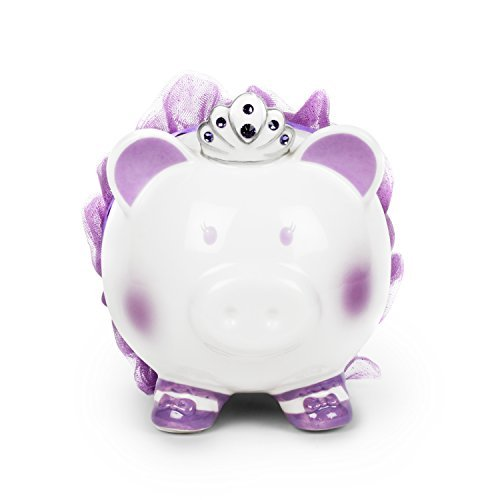 Tiara Piggy Princess Bank - FAB Starpoint Swarovski with Crown Princess Porcelain Piggy Bank for Kids (Purple)