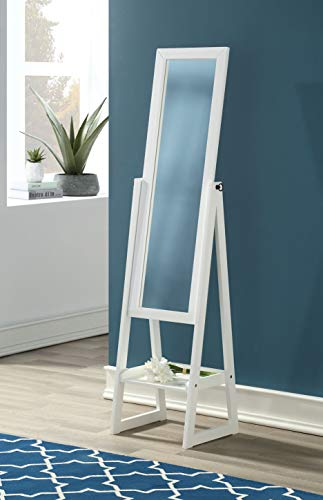eHomeProducts Solid Wood Cheval Floor Standing Tilting Mirror with Bottom Shelf, White Finish ()