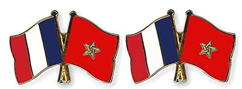 2 pi/èce Pack pins drapeaux amiti/é France Maroc