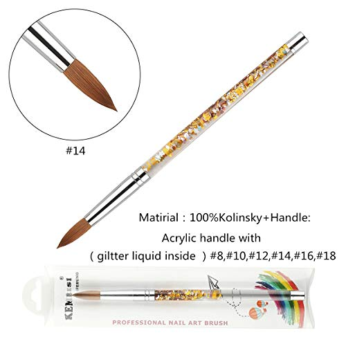 Round Sable Nail - 2019 1PC KEMEISI New Design Liquid Glitter Handle 100% Kolinsky Sable Acrylic Nails Round Nail Art Brush Manufacturer Size 8,10,12,14,16,18 (#14)