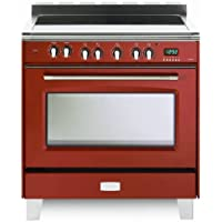 Verona VCLFSEE36R 36 Classic Series Electric Freestanding Range with 5 Elements Gloss Red