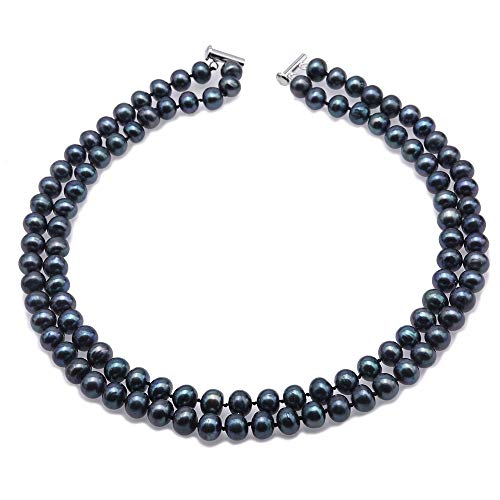 JYX Pearl Double Strand Necklace 8mm Black Cultured Freshwater Pearl Necklace for Women 18