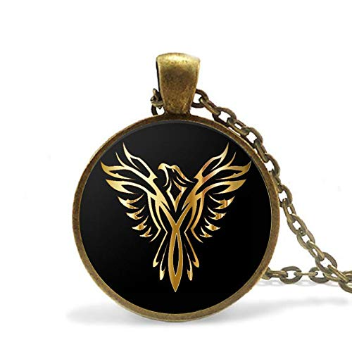 Phoenix Necklace Bronze Chain Pendant Golden Firebird for Men and Woman ()