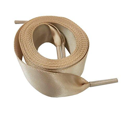 Flat Satin Tap Shoe Laces Ribbon Shoelaces 2cm Wide Khaki 140cm/55Inch