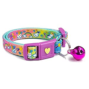 waaag Pet Collars Unicorn Cat Collar, Cute Unicorns on Rainbow Safety Breakaway Cat Collar