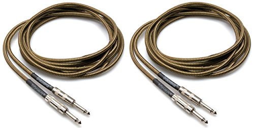 2 Hosa GTR-518 18 Foot Straight Tweed Guitar/Instrument Cables