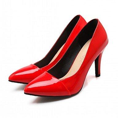 Talones de las mujeres del resorte de la caída Confort de cuero para oficina y del partido de la carrera y del vestido de noche del tacón de aguja Negro Azul Rojo Black