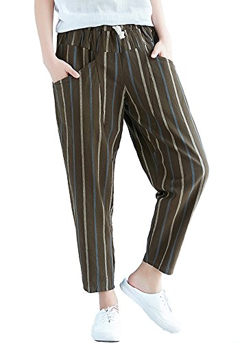 Sheicon Women Cotton Linen Blend Elastic Waist Striped Cropped Pant with Pockets Color Coffee Size One (Striped Linen Blend Pants)