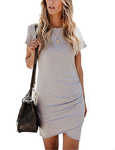 CAIYING Womens Summer Casual Solid Ruched Short Sleeve for sale  Delivered anywhere in Canada