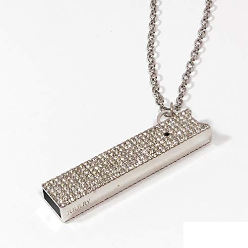 JUUL Pave case with Necklace and Key Chain Attachment (Rhodium Clear Stone)