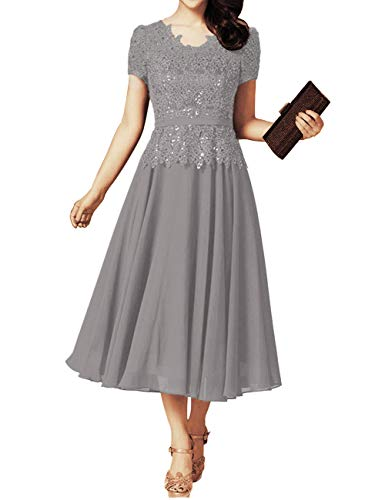Mother of The Bride Dress Plus Size Grandmother Groom Wedding Dresses Short Sleeves Steel Grey US16W (Mother Of The Groom Dresses For Western Wedding)