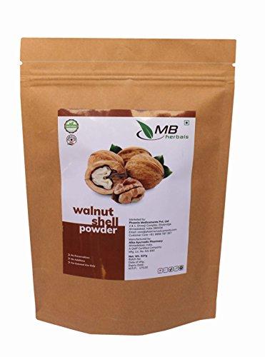 MB Herbals Walnut Shell Powder 227g / 1/2 lbs / 8 oz - No Silica or Any Artifical Additives - For Homemade Natural Scrub Formula (Shells Exfoliant Walnut)