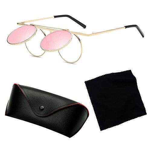 de C4 Round Up Gothic Mujeres Flip Lens polarizadas sol Vintage Polarized hibote gafas Steampunk Hombres B6Swxgqt