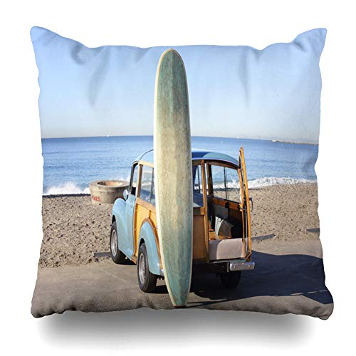 Ahawoso Throw Pillow Cover Sand Surf Woody Beach Southern California Surfboard Parks Scene Coast Morris Minor Design Home Decor Pillow Case Square Size 20x20 Inches Zippered Pillowcase