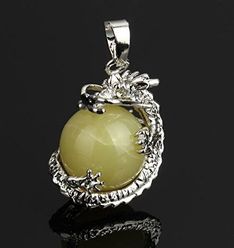 Yellow Jade Round Gem Stone Necklace Dragon Pendants Charms Craft Jewelry Making Findings ()