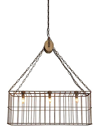 Country Old Iron Pendant - Country Farm Style Iron Basket Chandelier w Wooden Pulley and 3 Lights Old Fashioned