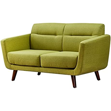 US Pride Furniture Contemporary Fabric Loveseat With Wood Legs Lemon Green