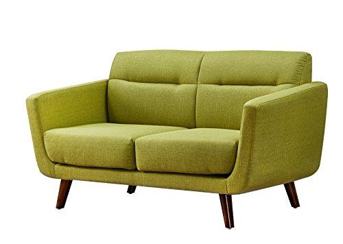 Leg Wood Seat - US Pride Furniture Contemporary Fabric Loveseat with Wood Legs, lemon Green