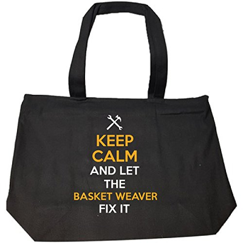 Keep Calm And Let The Basket Weaver Fix It Cool Gift - Tote Bag With Zip Basket Weaver Tote
